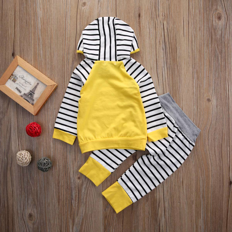 Autumn Newborn Infant Baby Boys Girls Clothes Sets Long Sleeved Hooded Jacket + Striped Pants 2PCS Baby Clothes Suit 0-24 Months 2