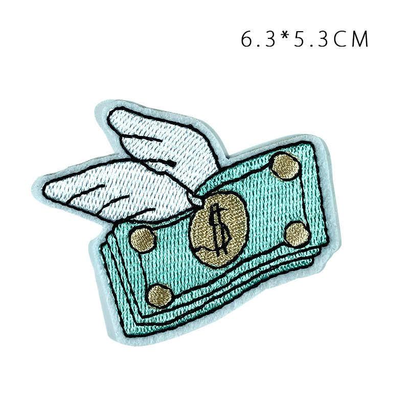 การ์ตูนปีกบิน Dollar มือนับเงินเย็บปักถักร้อยแพทช์สำหรับเสื้อผ้า Epaulette STRIPES กระเป๋าเป้สะพายหลังสัญลักษณ์ไหล่