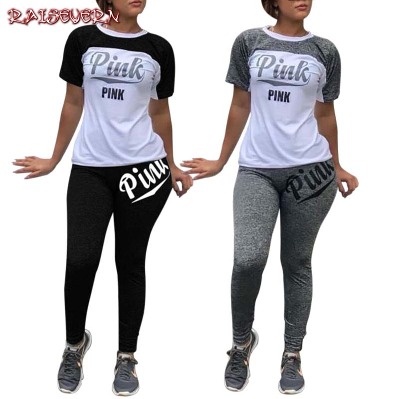 RAISEVERN Summer Casual 2 Piece Set Pink Letter Print Clothing Women Tracksuit Short Sleeve Tops+ Pants Skinny Streetwear 2020