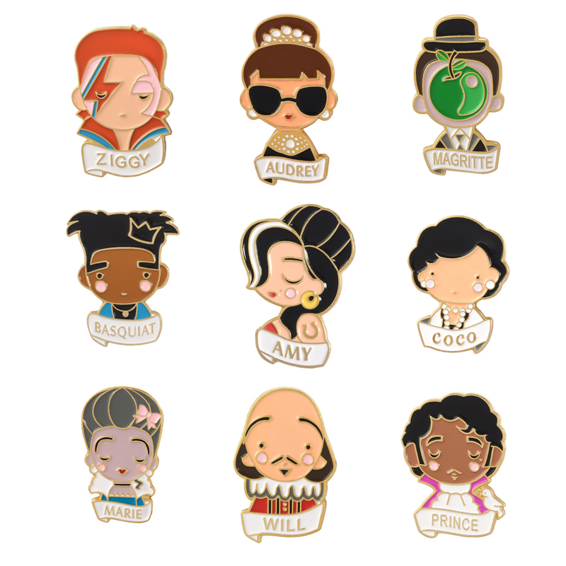 Shakespeare Audrey Hepburn Celebrity Enamel Pins  Coco Amy Portrait Brooch Badges For Clothing Backpack Badge Gifts