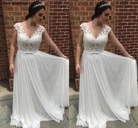 Beach Wedding Dresses Boho 2019 A Line Lace Appliques V Neck Button Back Sweep Train Chiffon Bridal Gowns Robe De Mariee Cheap
