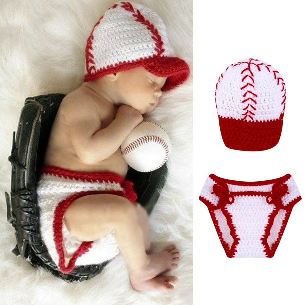 Red Handmade Newborn Baseball Caps Infant Knitted Beanies Baby Prop Crochet Hats Newborn Photography Accessories 0-4 Months