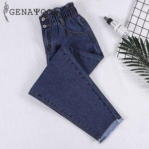 Image 1 - Genayooa Pencil Jeans 여성 플러스 사이즈 여성용 하이 웨이스트 보이 프렌드 청바지 신축성있는 허리 바지 루즈 한 빅 사이즈 청바지 여성