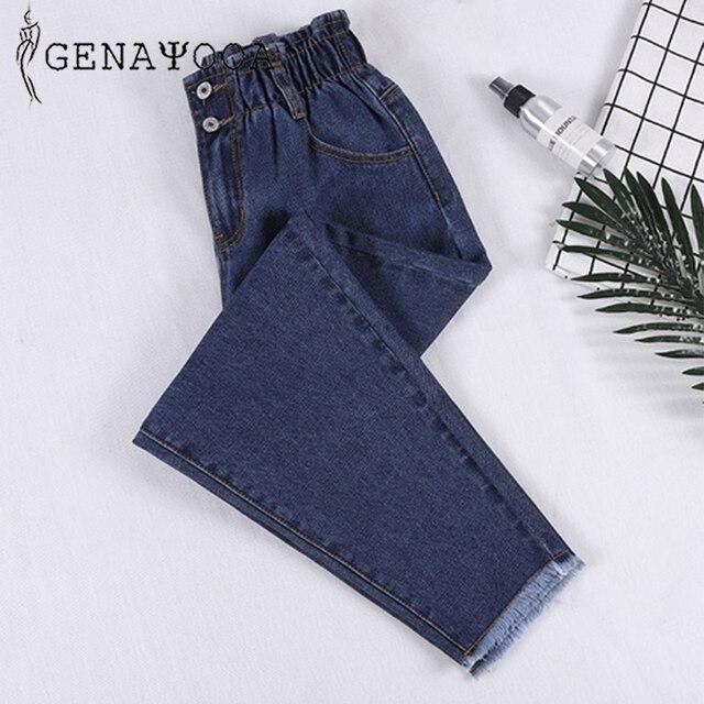 Genayooa Pencil Jeans 여성 플러스 사이즈 여성용 하이 웨이스트 보이 프렌드 청바지 신축성있는 허리 바지 루즈 한 빅 사이즈 청바지 여성