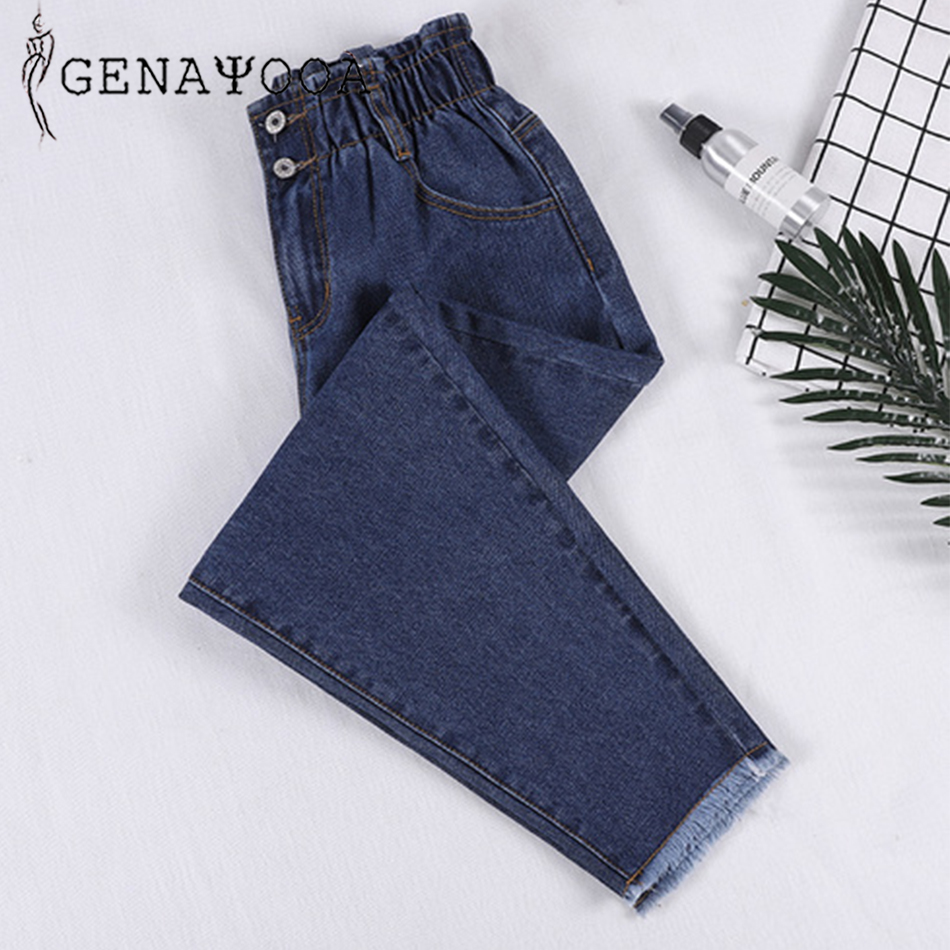 Genayooa Pencil   Jeans   Woman Plus Size High Waisted Boyfriend   Jeans   For Women Elastic Waist Pants Loose Big Size   Jeans   Woman