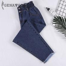 Genayooa lápis jeans mulher mais tamanho de cintura alta namorado jeans para mulheres calças de cintura elástica solto tamanho grande jeans mulher
