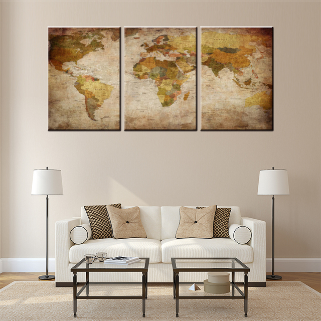 3 pieces world map printed canvas oil painting for living room decor 3 pieces world map printed canvas oil painting for living room decor craft home decor wall gumiabroncs Images