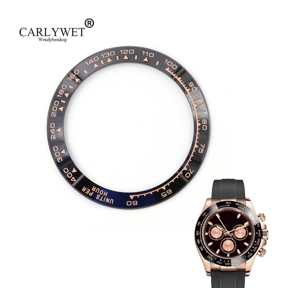 CARLYWET Wholesale High Quality Ceramic Black with Rose Gold Writing Watch Bezel for Daytona 116500 - 116520