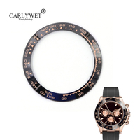 CARLYWET Wholesale High Quality Ceramic Black with Rose Gold Writing Watch Bezel for Daytona 116500 116520