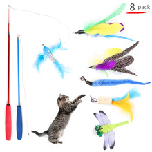 2019 Amazon's new cat toy tease bar feather dragonfly fishing rod combination set майка print bar geometric dark dragonfly