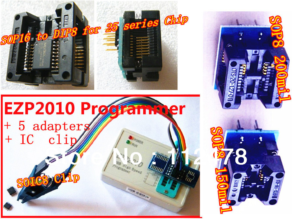 EZP 2010 25T80 Bios High Speed USB SPI Programmer SOP16 SOP 16 SOP8 SOP 8 to DIP8 DIP 8 EZP2010 + 5 Adapters + SOIC8 Clamp cl1152 dip 8