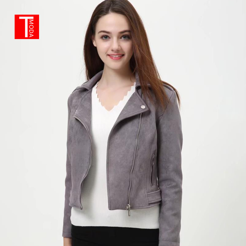 2018 Women Autumn Winter   Suede   Faux   Leather   Jackets Lady Fashion Matte Motorcycle Coat Biker Gray Zipper Outerwear