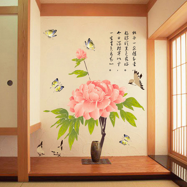 Fundecor] Chinese painting peony flower wall stickers home decor ...