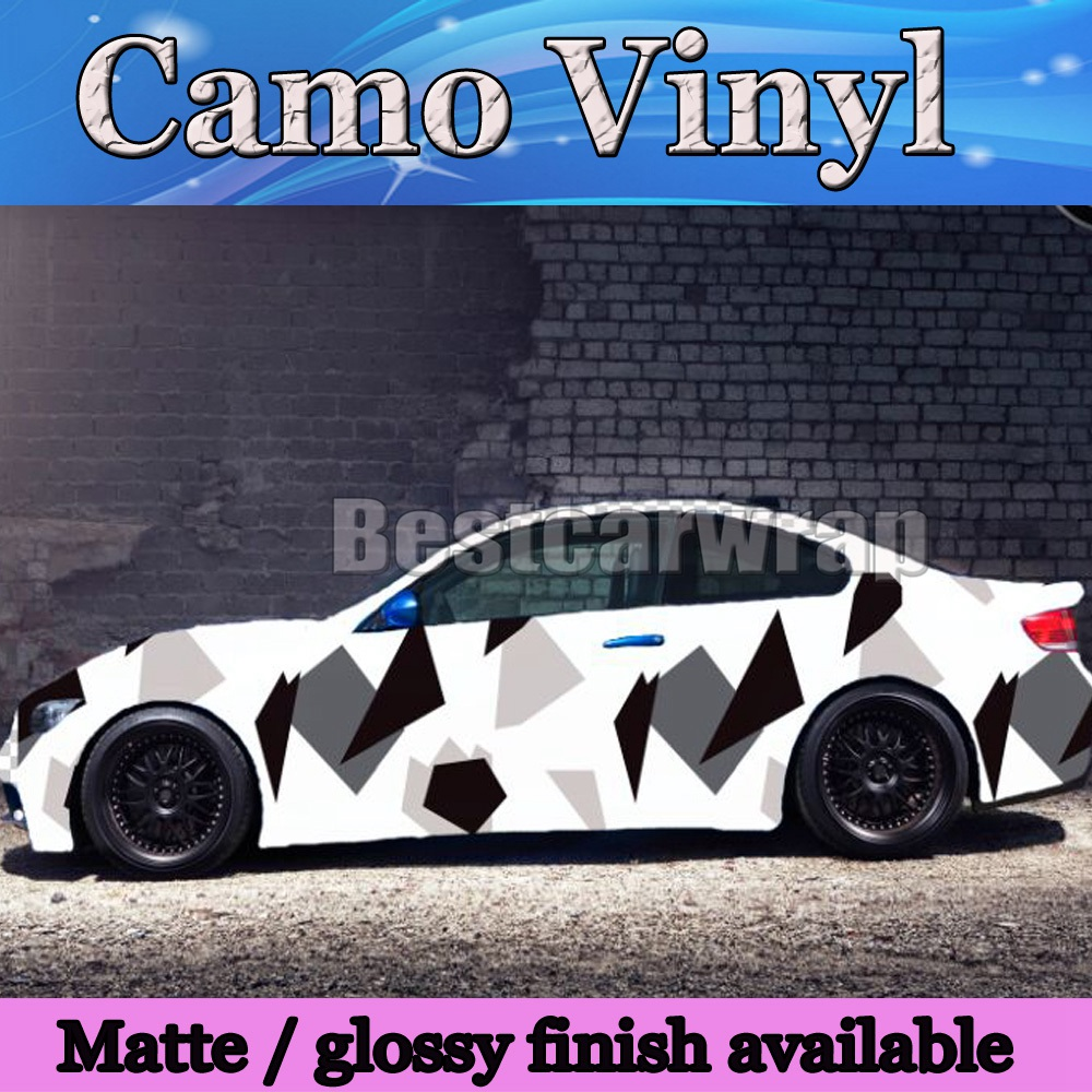 Arctic dazzle snow camo vinyl white black grey car wrap sticker pixel camouflage car sticker with air free 1 52x30m roll