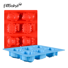 FILBAKE Bear Lion Hippo Animal Cake Mold Silicone Chocolate Ice Grid Mould Decoration Tool Baking Accessories High Quanlity