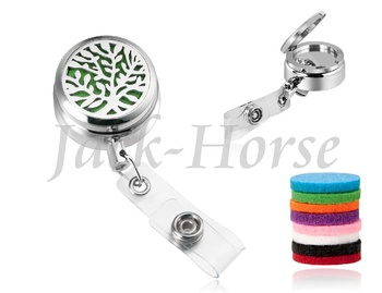 Tree life 30mm Magnetic Essential Oil Diffuser Locket lanyards id badge holder with free pads