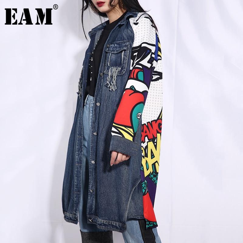 EAM 2019 New Spring Summer Lapel Long Sleeve Blue Pattern Printed Loose Denim Big Size
