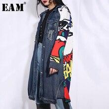 [Eam] 2020春の新作秋ラペル長袖ブルー柄デニムビッグサイズジャケットの女性のコートファッション潮W014