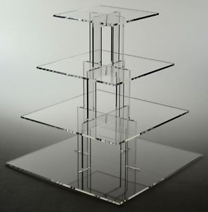 !Square Transparent 4 Tier Acrylic Wedding Cake Cupcake Display Stand For Wedding Party