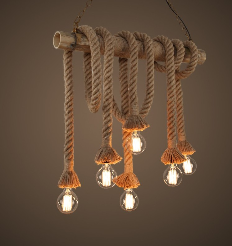 6 Edison bulbs light Bamboo Rope Pendant Lights Lamp Vintage Loft Creative Personality Industrial Lighting Lamp modern edison personality industrial lighting counter lamps cage vintage pendant lights pendant lamp edison bulbs ac 110 220v