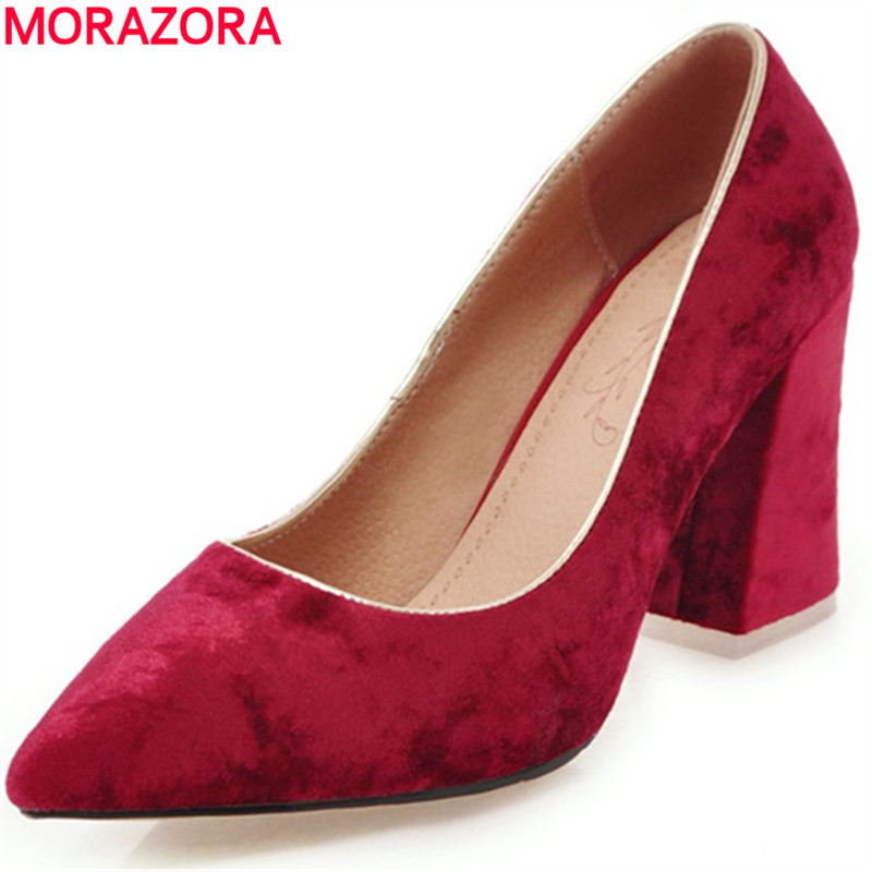 MORAZORA Contracted fashion square high heels shoes shallow pointed toe wedding party womens pumps big size 34-46 single shoes baoyafang bling womens wedding shoes high heels pumps women fashion shoes pointed toe ladies shallow sequined cloth female shoes