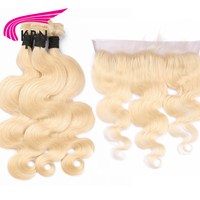 KRN Body Wave #613 Brazilian Remy Hair 3 Pieces Bundles With 13*4 Ear To Ear Lace Frontal Closure Blond Human Hair Extensions
