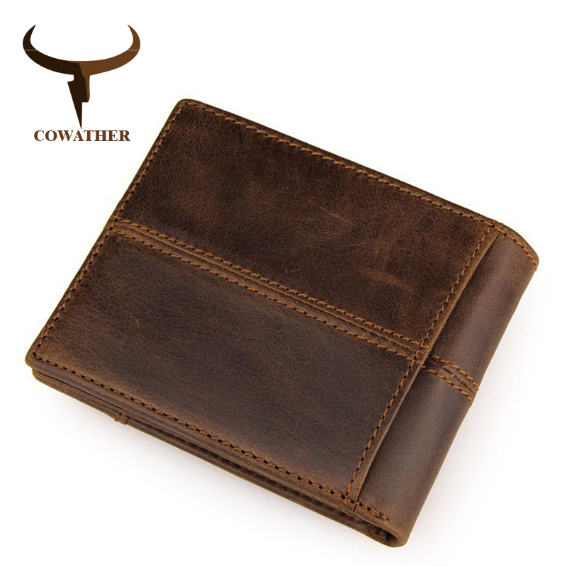 COWATHER 100% top quality cow genuine leather men wallets fashion splice purse dollar price carteira masculina original brand(China)
