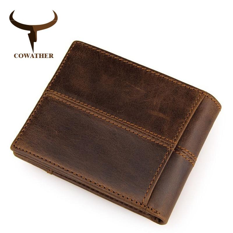 COWATHER 100% de calidad superior de vaca de cuero genuino de los hombres carteras de moda empalme bolso dólar precio carteira masculina de marca original