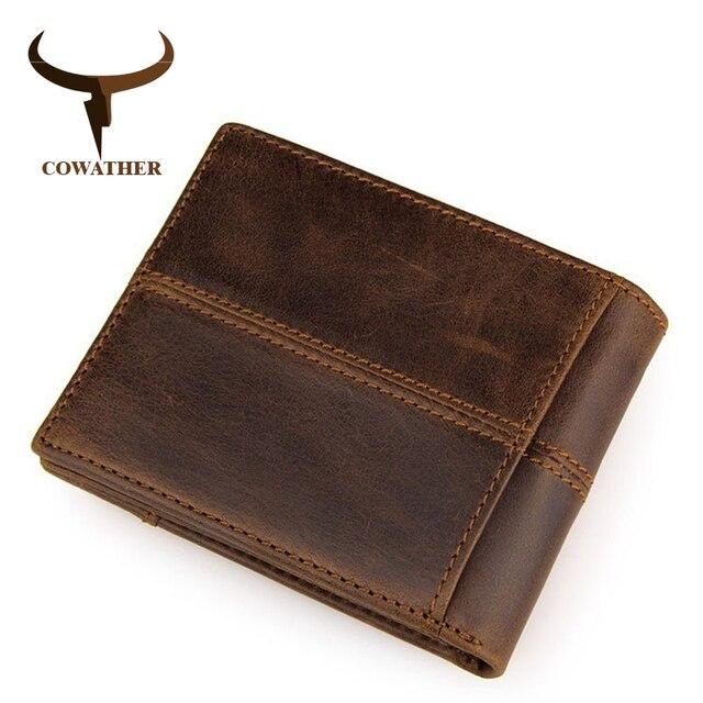 Cowather 100% Top Kwaliteit Koe Lederen Mannen Portefeuilles Fashion Splice Portemonnee Dollar Prijs Carteira Masculina Originele Merk