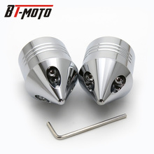цена на 1 Pair Chrome Front Axle Nut Cover Cap for Harley Softail Dyna V-Rod Touring Trike Silver / Black Motorcycle Styling