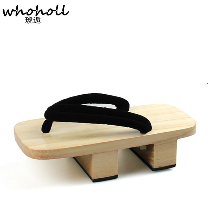 WHOHOLL Man Flip Flops 2018 Summer Platform Sandals Couple Japanese Geta Cosplay Clogs Shoes Wooden Slippers for Lovers whoholl summer sandals female slippers summer japanese wooden geta clogs shoes sandals flip flops two teeth with women socks
