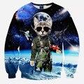 3d космическое пространство кот отпечатано мужской спортивной моды с длинным рукавом футболка мужчины harajuku спортивный костюм человек sudaderas chandal hombre