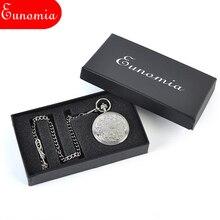 Silver Round Mechanical Pocket Watch Sales Men Luxury Gift Brand Box Vintage Steampunk Analog Retro Pocket Watch Women PW516