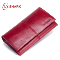 LY.SHARK 2018 Genuine Leather Women Wallets Zipper Coin Purse Woman Moneybags Wallet Money Cards ID Holder Bags Purses Pocket