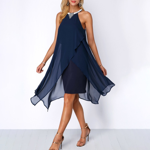 Plus Size Women Summer Round Neck Fashion Chiffon Sleeveless Dress Irregular Double Layer Beach Party sexy Loose Dresses 2
