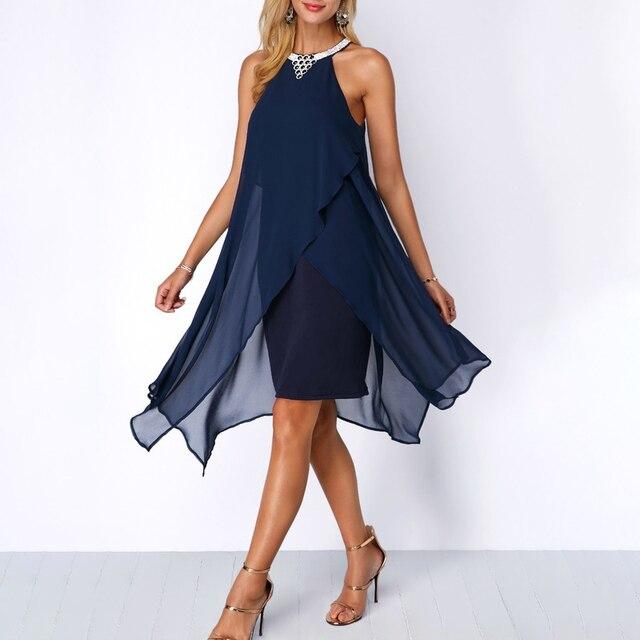 Plus Size Women Summer Round Neck Fashion Chiffon Sleeveless Dress Irregular Double Layer Beach Party sexy Loose Dresses 1