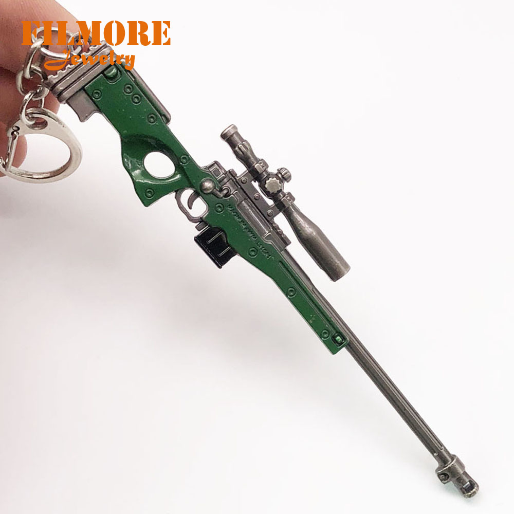 12cm PUBG Airdrop Weapon Sniper AWM Model Key Chains Toys Gun Keychains Rifle Key Rings Keyrings Llaveros Chaveiro Sleutelhanger marking tools