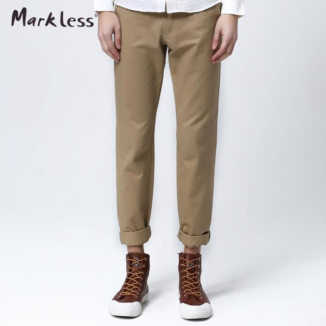 Markless Otoño Algodón Delgado Pantalones Largos Masculinos 8 Colores 100% Pantalones de Algodón Pantalones Ocasionales Del Todo-Fósforo Más Los Pantalones Para Hombre
