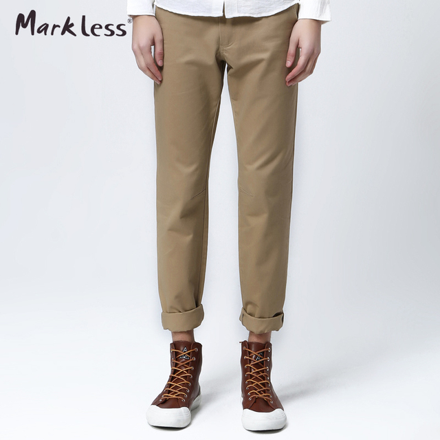 Markless Spring Slim Fit Cotton Full Length Pants Men's Colors 100% Cotton Trousers Casual All-match Plus Fashion Pants For Man