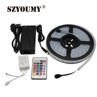 SZYOUMY 5050 RGB Led Strip Kit 5M 600Leds Waterproof TP67 DC12V Flexible Led Light Strips + 24 Key Controller + Power Adapter