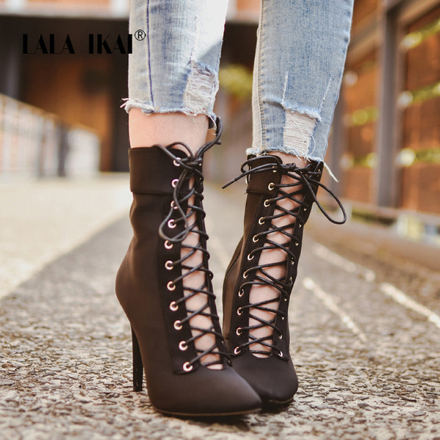 LALA IKAI Herbst Stiefel Frau Flock Lace-Up Ankle Stiefel Herbst Spitz High Heel Mode Winter Schuhe 014N1445-45