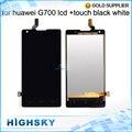 5 polegada preto branco novo teste de exibição para o huawei ascend G700 Tela LCD Com Digitador Assembléia Toque 1 Peça Livre grátis