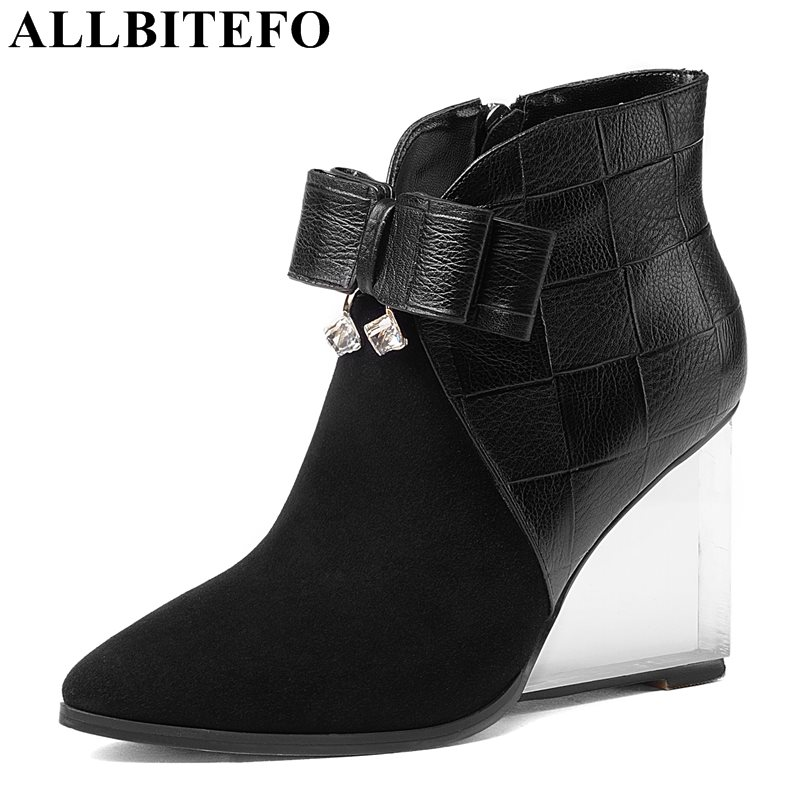 ALLBITEFO Crystal heel Nubuck leather pointed toe wedges heel women boots fashion bowtie high heels martin boots girls boots комплект мягкой мебели ольга 2