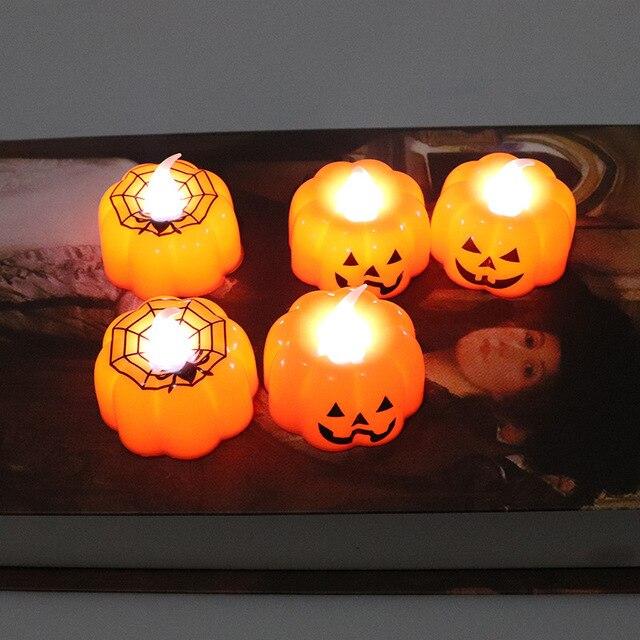 2019 nowy dyni świeczki Halloween światła dekoracyjne ciepły biały Halloween do odmu akcesoria do dekoracji