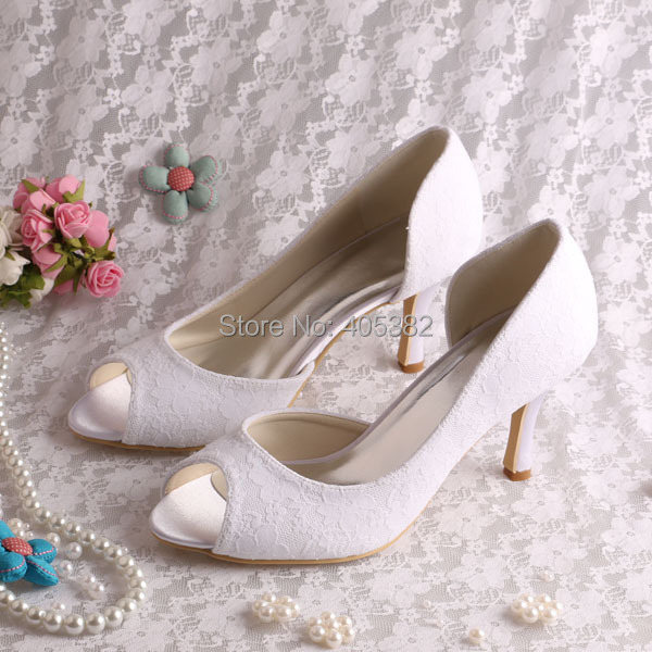 ФОТО Wedopus Top Quality White High Heels Open Toe Pumps Shoes Lace Woman Wedding Party