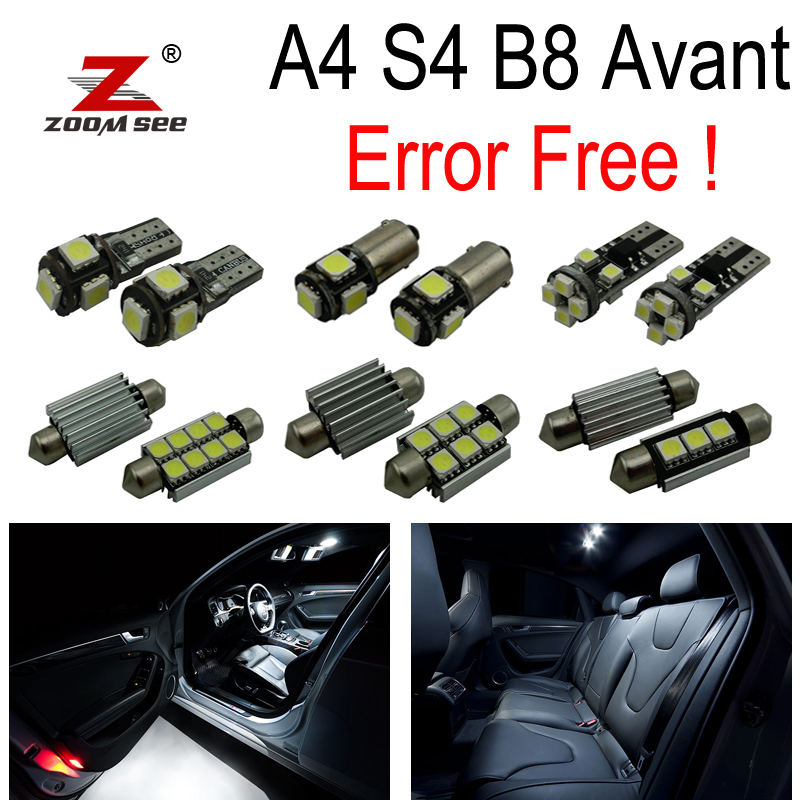 18pc x Canbus No Error LED bulb for 2009-2015 Audi A4 S4 B8 Estate Avant Interior dome Light Kit package 2pcs 12v 31mm 36mm 39mm 41mm canbus led auto festoon light error free interior doom lamp car styling for volvo bmw audi benz