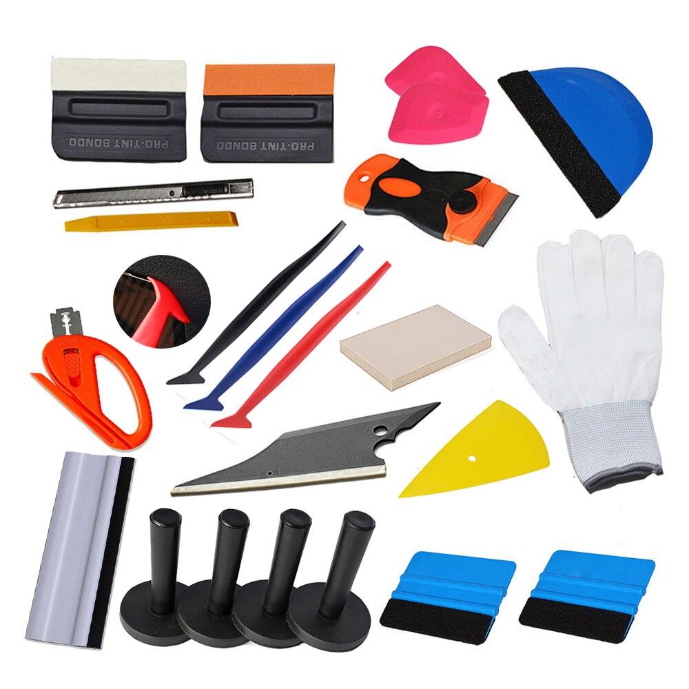 EHDIS 24 pièces fenêtre teints outils Kit vinyle Film voiture Wrap raclette grattoir avec Cutter couteau lame support magnétique poignée raclette