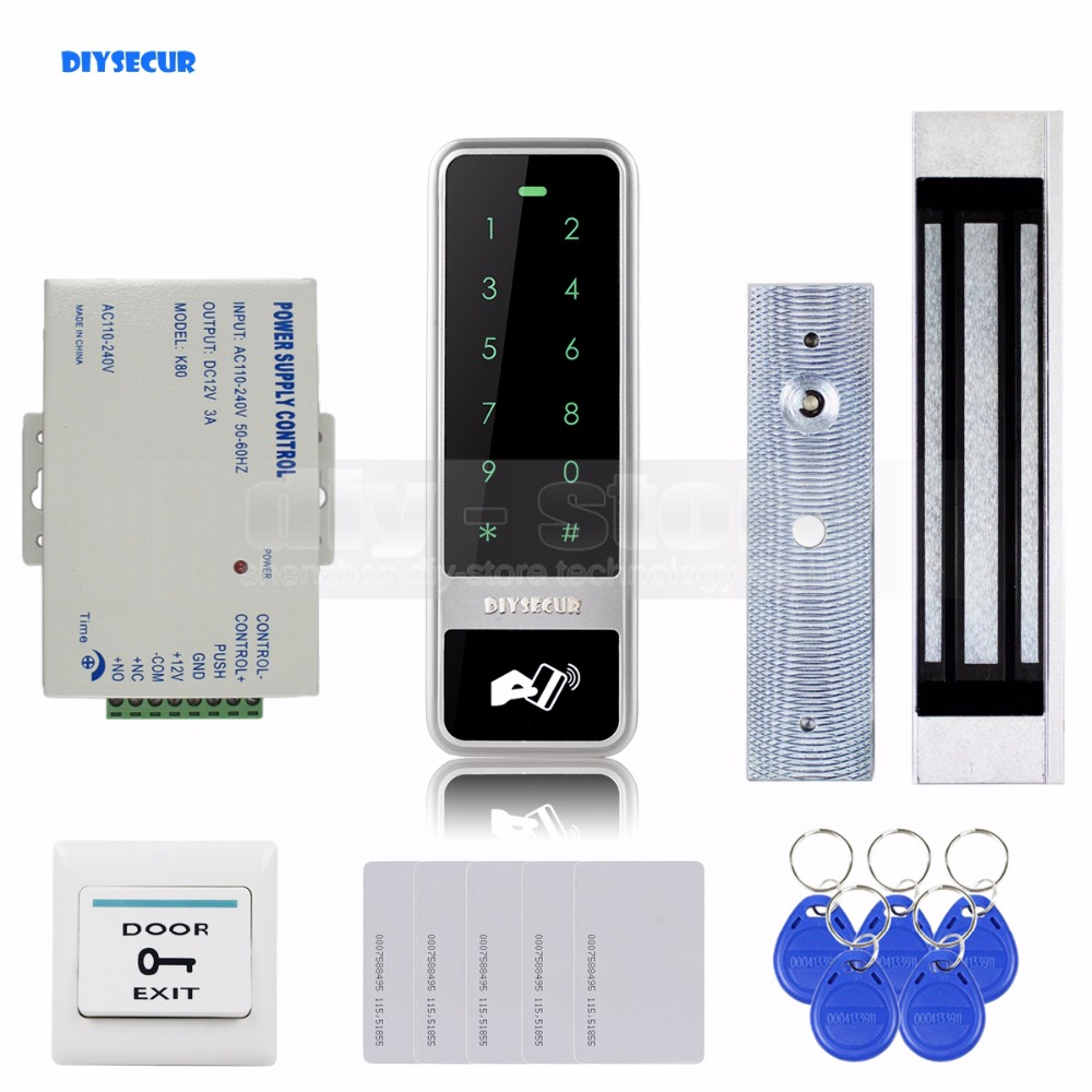DIYSECUR 125KHz RFID Reader Password Touch Keypad Door Access Control Security System Kit Magnetic Lock diysecur magnetic door lock lcd 125khz rfid reader password keypad access control door lock system kit security system bc200