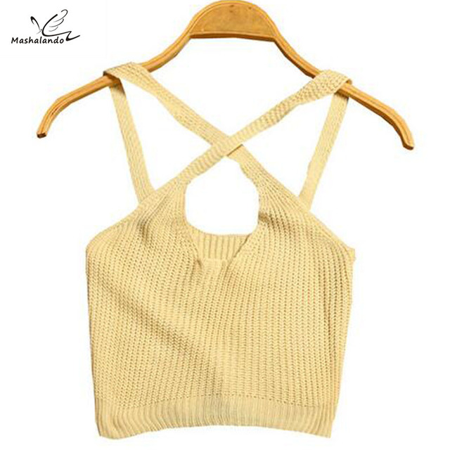Candy Color Ladies Crop Top Knitted Deep V Neck Spaghetti Strap Camisole Free Size