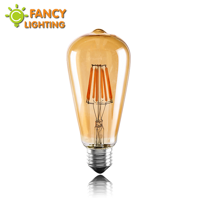 Vintage led edison filament bulb golden st64 e27 led dimmable light 110v 220v energy saving lamp replace incandescent bulb lampa